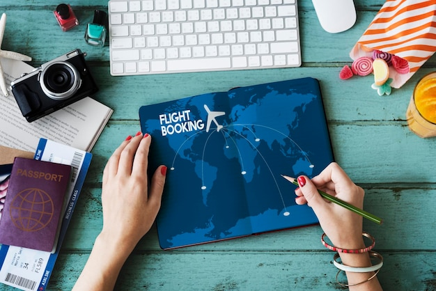 Concepto de destino de viaje de reserva de vuelo
