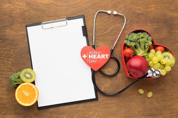 Concepto del día mundial del corazón con comida saludable