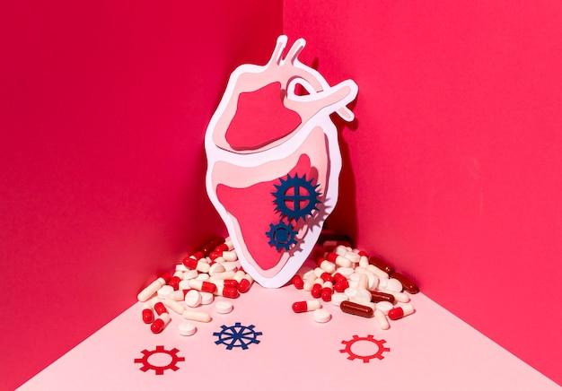 Concepto del día mundial del corazón con pastillas