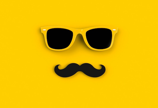 Concepto del día del padre gafas de sol amarillas hipster y bigote gracioso
