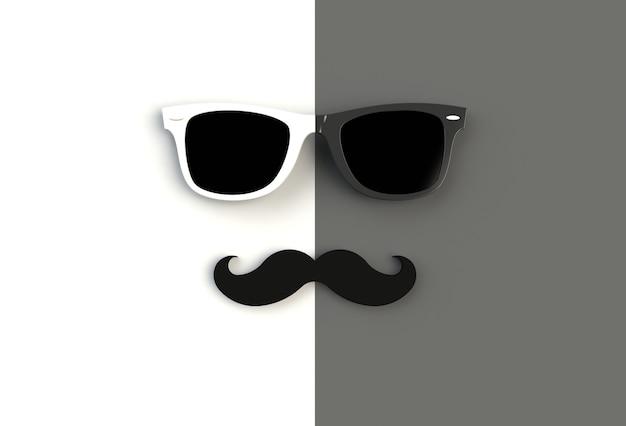 Concepto del día del padre. gafas de sol de hipster y bigote gracioso.