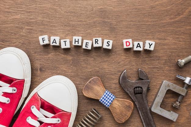 Concepto del día del padre con zapatillas de deporte