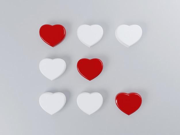Concepto de día de san valentín con corazones juego de tic tac toe