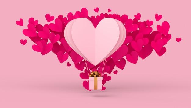 Concepto de día de san valentín, globo de aire caliente con caja de regalo, representación 3d.