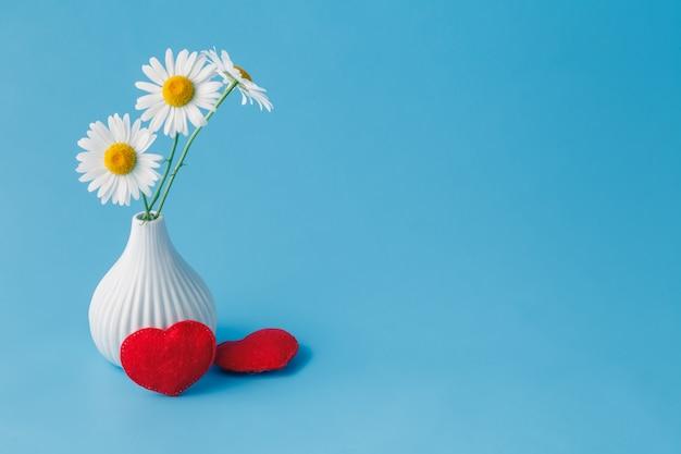 Concepto de día de san valentín con margaritas y corazones suaves