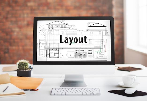 Concepto de dibujo de diseño de construcción de arquitecto de diseño