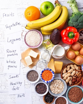 Concepto de dieta saludable vegetariana ovo-lacto.