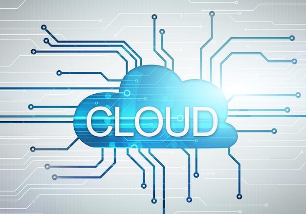 Concepto digital de imagen en la nube con word en circuito microchip