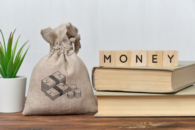 Concepto de dinero con una bolsa de dinero y libros.
