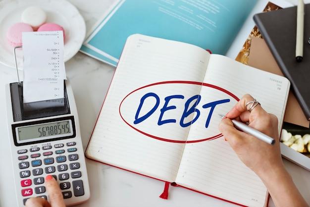 Concepto de dinero de préstamo de finanzas bancarias de obligación de deuda