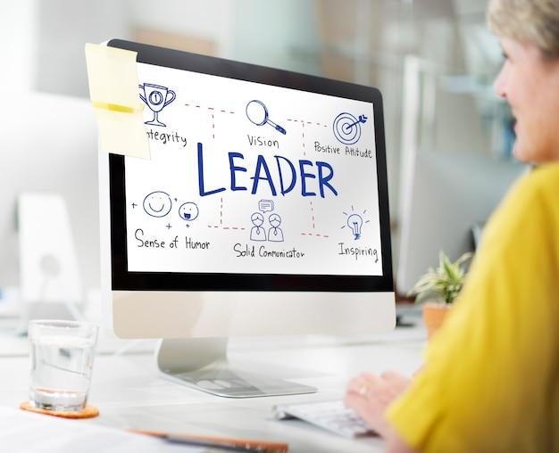 Concepto de director de director de entrenador de jefe de autoridad de líder