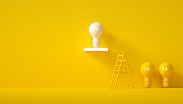 Concepto de diseño de idea mínima bombilla blanca exitosa sobre fondo amarillo pastel