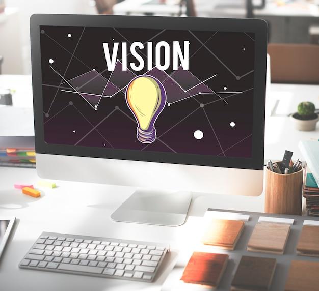 Concepto de diseño de inspiración de visión de progreso de ideas