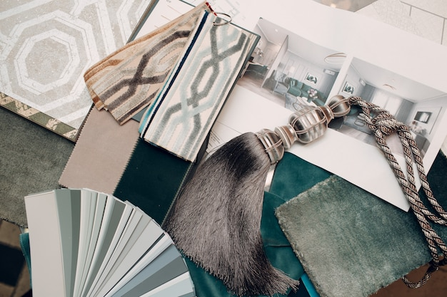 Concepto de diseño de interiores. diseñador y proyecto.