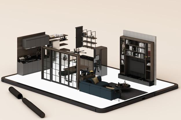 Concepto de diseño de interiores: empresario con una tableta con aplicación de diseño de interiores en la pantalla. representación 3d