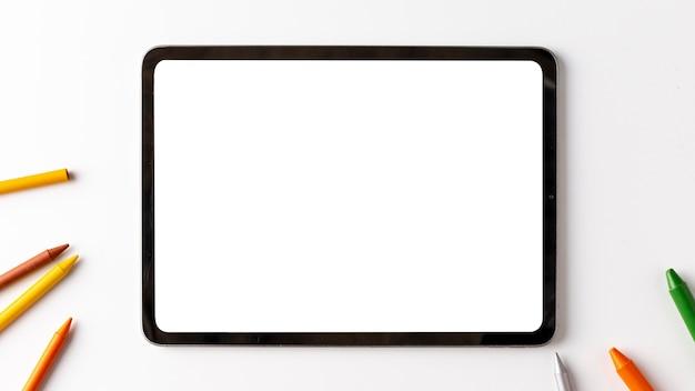 Concepto de dispositivo de vista superior con espacio de copia