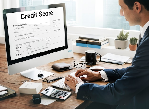 Concepto de economía de banca financiera de puntuación de crédito