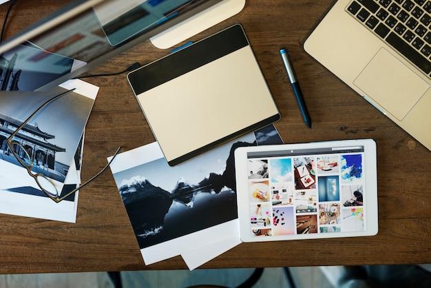 Concepto de edición de estudio de diseño de fotografía de tableta digital