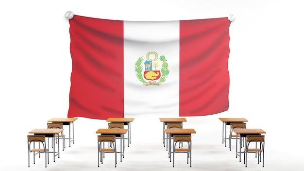 Concepto de educación. 3d de escritorios y bandera de perú sobre fondo blanco.