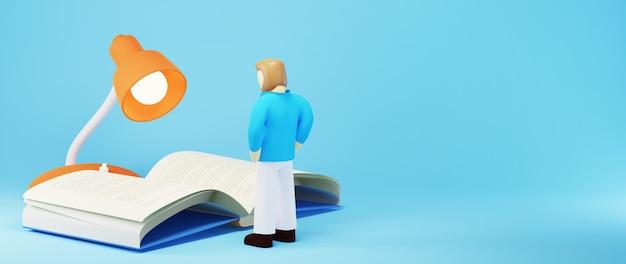 Concepto de educación. 3d de un hombre y un libro sobre fondo azul. concepto isométrico moderno diseño plano de educación. de vuelta a la escuela.
