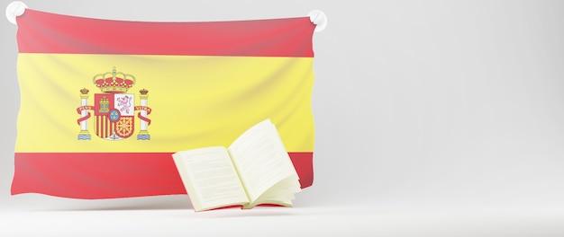 Concepto de educación. 3d del libro y la bandera de españa en la pared blanca. concepto isométrico moderno diseño plano de educación. de vuelta a la escuela.