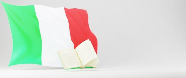 Concepto de educación. 3d del libro y la bandera de italia sobre fondo blanco. concepto isométrico moderno diseño plano de educación. de vuelta a la escuela.