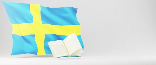 Concepto de educación. 3d del libro y la bandera de suecia en la pared blanca. concepto isométrico moderno diseño plano de educación. de vuelta a la escuela.