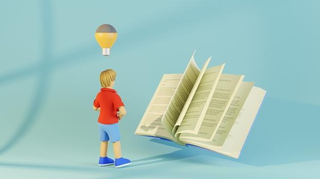 Concepto de educación. 3d de libro y niño sobre fondo azul.