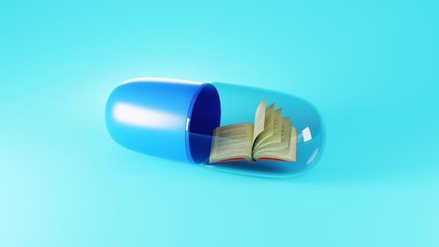 Concepto de educación. 3d del libro sobre la superficie azul.
