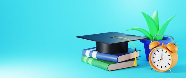 Concepto de educación. 3d de libros y sombrero de graduación en superficie azul.