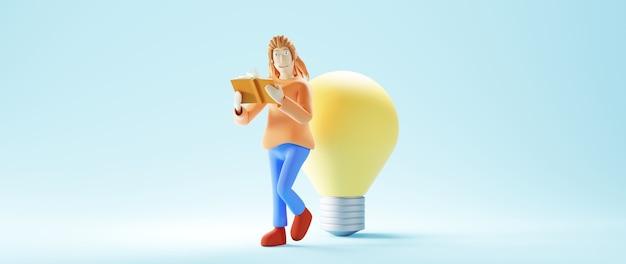Concepto de educación. 3d de mujer leer libro y bombilla sobre superficie azul.