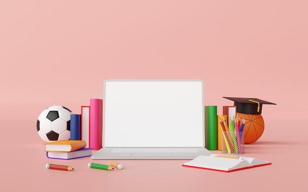 Concepto de educación en línea laptop con suministros educativos ilustración 3d