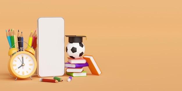 Concepto de educación en línea de smartphone con suministros educativos ilustración 3d