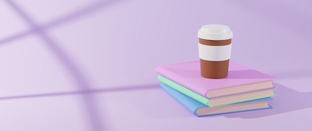 Concepto de educación. representación 3d de libros y café sobre fondo rosa.