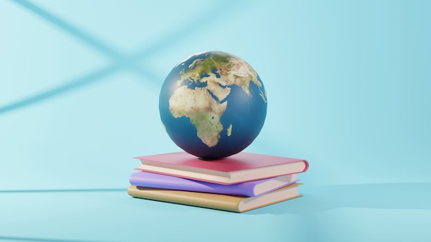 Concepto de educación. representación 3d de libros y mundo sobre fondo azul.