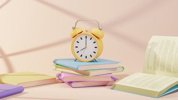Concepto de educación. representación 3d de libros y reloj sobre fondo naranja.
