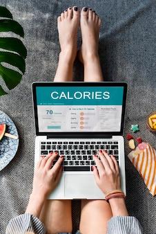 Concepto de ejercicio de alimentos de nutrición de calorías