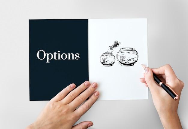 Concepto de elección de oportunidad de opción de decisión de desafío