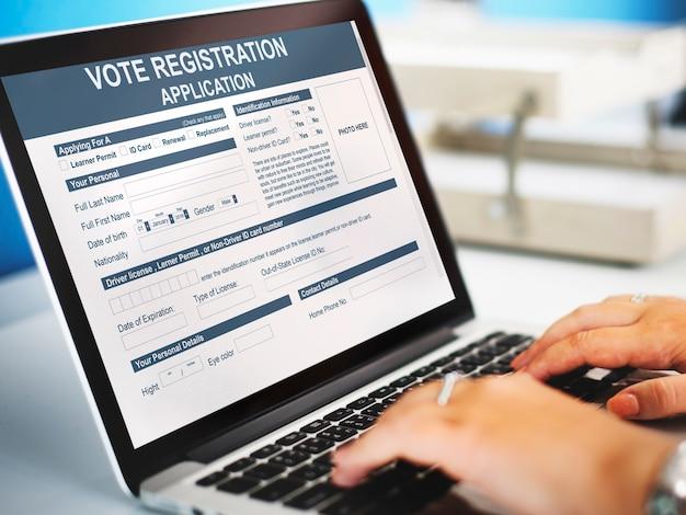 Concepto de elección de solicitud de registro de voto