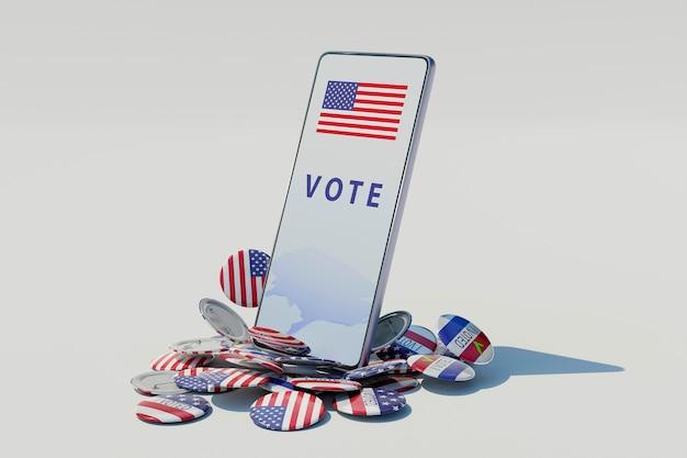 Concepto de elecciones estadounidenses con la bandera de estados unidos