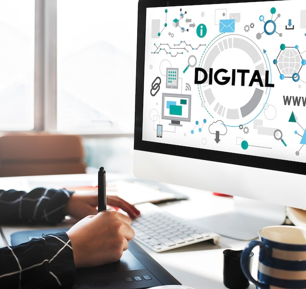 Concepto electrónico de redes de tecnología de conexión digital