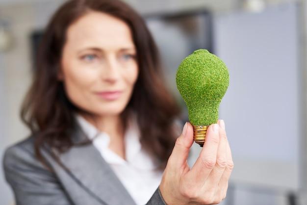 Concepto de energía renovable con bombilla