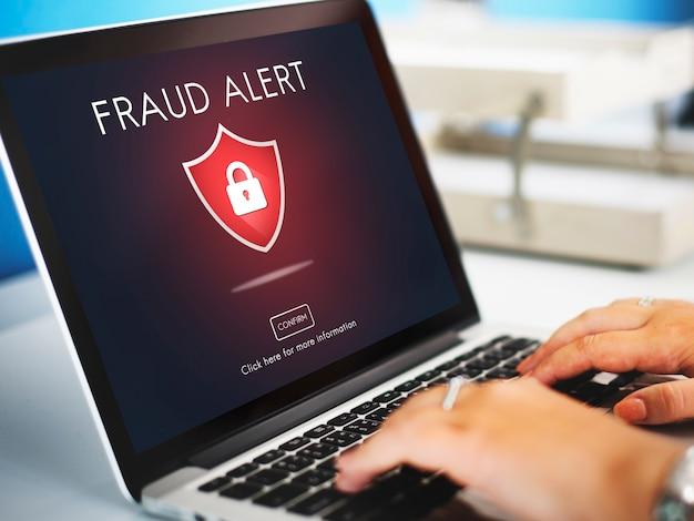 Concepto de engaño de precaución de phishing de estafa de fraude