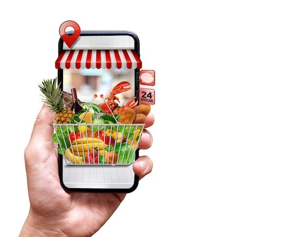 Concepto de entrega de comida fresca