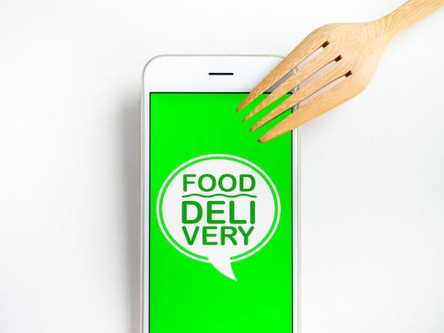 Concepto de entrega de comida. palabras