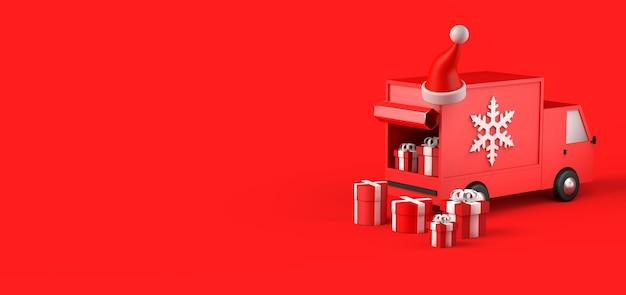 Concepto de entrega a domicilio de regalos de navidad con furgoneta. copie el espacio. ilustración 3d.