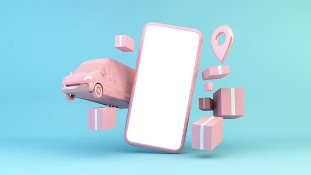 Concepto de entrega en línea representación 3d