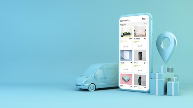 Concepto de entrega móvil en blanco