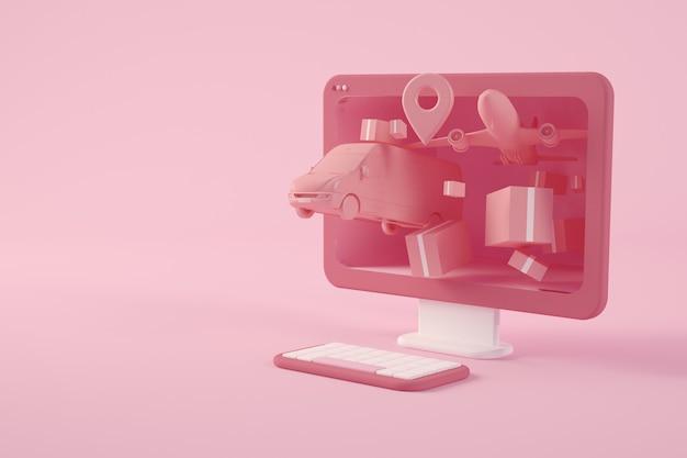 Concepto de entrega de tienda online representación 3d