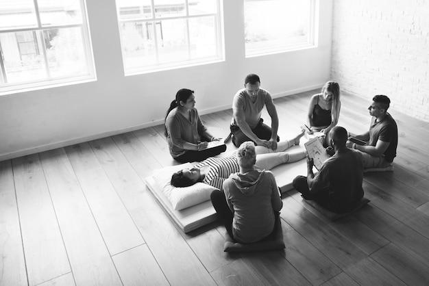 Concepto de entrenamiento de salud salud masaje